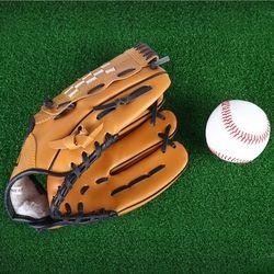 Спорт на открытом воздухе коричневые бейсбольные перчатки софтбол тренировочное оборудование Размер 10,5/11,5/12,5 левая рука для взрослых мужч...