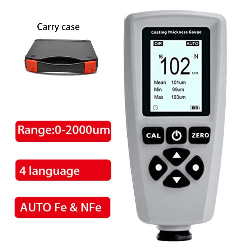 EC-770S coating paint thickness gauge AUTO tester F&NF range 0-2000um coating thickness tester Width Measuring