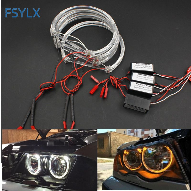 FSYLX LED Angel Eyes for BMW E46 halo light Error Free SMD angel eye E36 E38 E49 E46 Projector White yellow red blue Angel Eyes