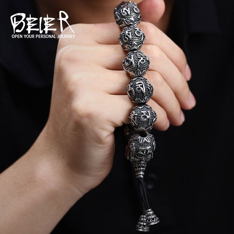 BEIER Fashion Men's High Polished Stainless Steel Buddhism Mantra Bracelet Bring Lucky Jewelry BC8-029