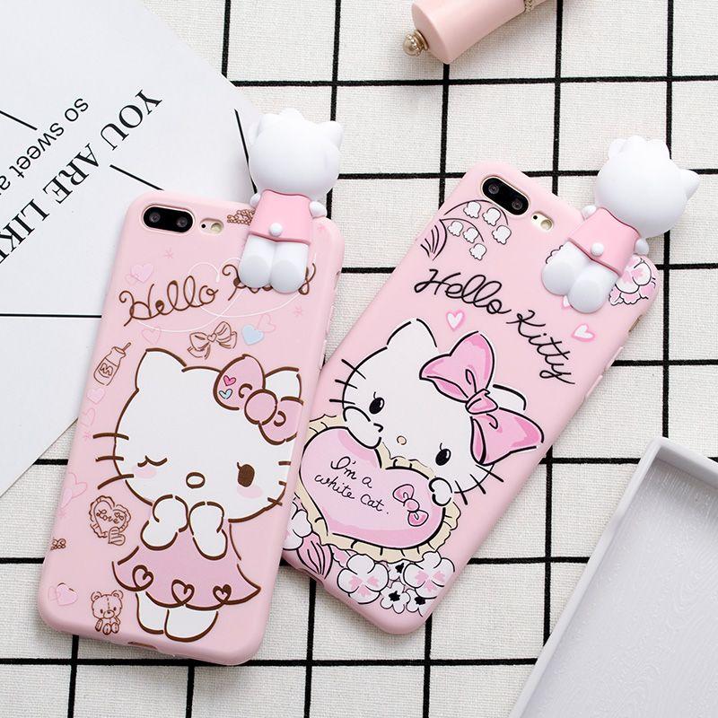 Cas de téléphone pour iPhone X 8 7 6 6 s Plus 5S SE Mignon de Bande Dessinée amour Bonjour Kitty Coeur Arc Rose Doux TPU Cas de Couverture Arrière pour Fille Enfants