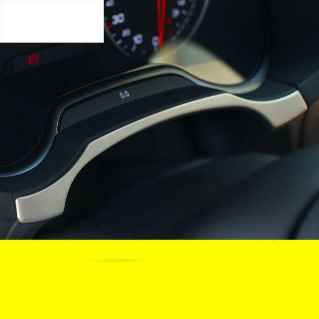 Pour Audi A3 8 V Berline À Hayon 2013-2016 Voiture Chrome Acier Inoxydable Tableau de Bord Garniture Anneau Décoration Avec Autocollants accessoires