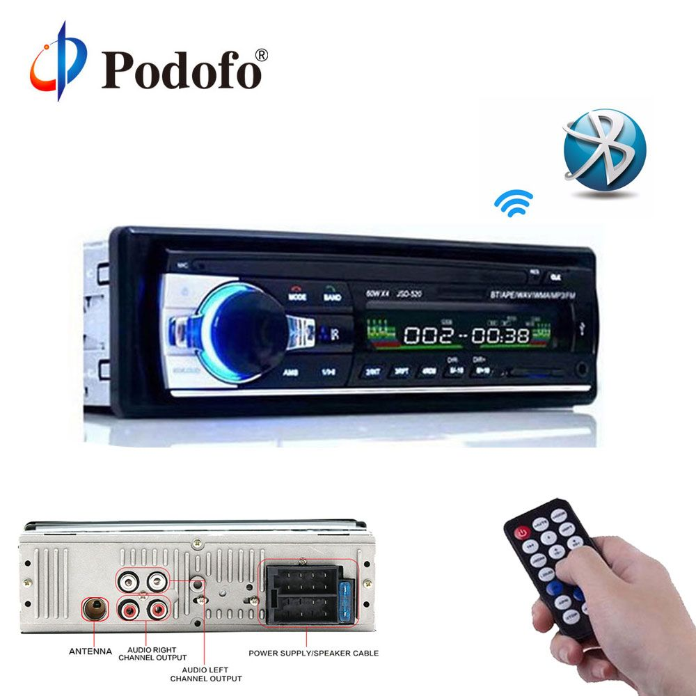 Podofo 12V Car Radios Stereo Bluetooth Remote Control Charger phone USB/SD/AUX-IN Audio MP3 <font><b>Player</b></font> 1 DIN In-Dash Car Audio JSD52