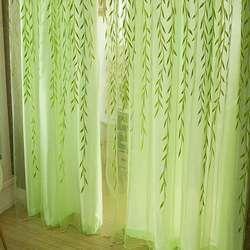 Пасторальный зеленый шторы тюль прозрачный ивы узор Sheer Тюль для спальня гостиная декоративные шторы 2018 Новые