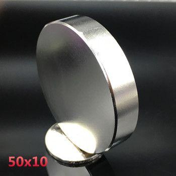 1 pcs Néodyme aimant 50x10mm gallium métal chaude super forte aimants ronds 50*10 Neodimio aimant puissant magnétique permanent