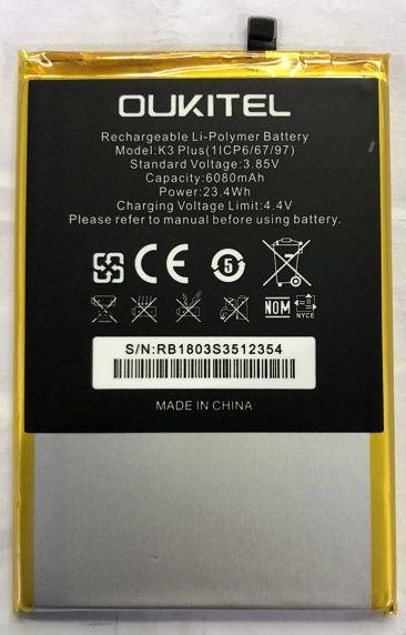 Mobile téléphone batterie OUKITEL K3 PLUS batterie 6080 mAh Long temps de latence Haute capacit OUKITEL Mobile Accessoires