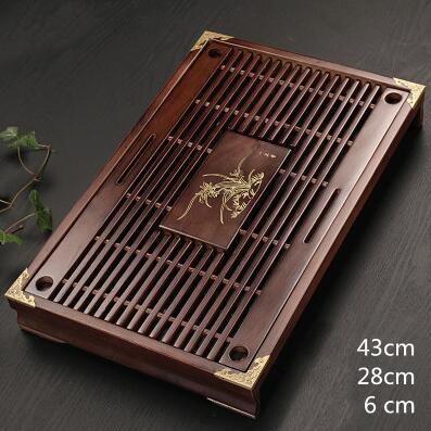 Plateau à thé Style classique de haute qualité 43 cm * 28 cm * 6.5 cm plateau à thé sculpté en bois massif et bambou, ensemble de thé exquis en bambou