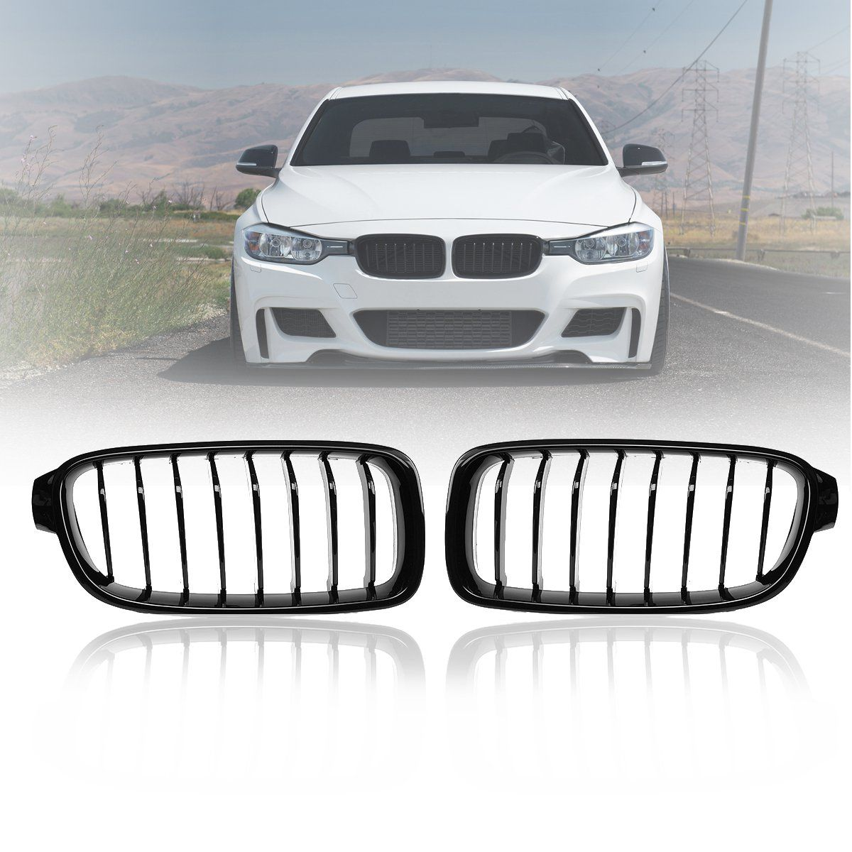 Pair Gloss Matt Carbon Black 3 Color Front Kidney Grille For BMW 3 Series F30 F31 F35 F80 2012 2013-2017 Racing Grills