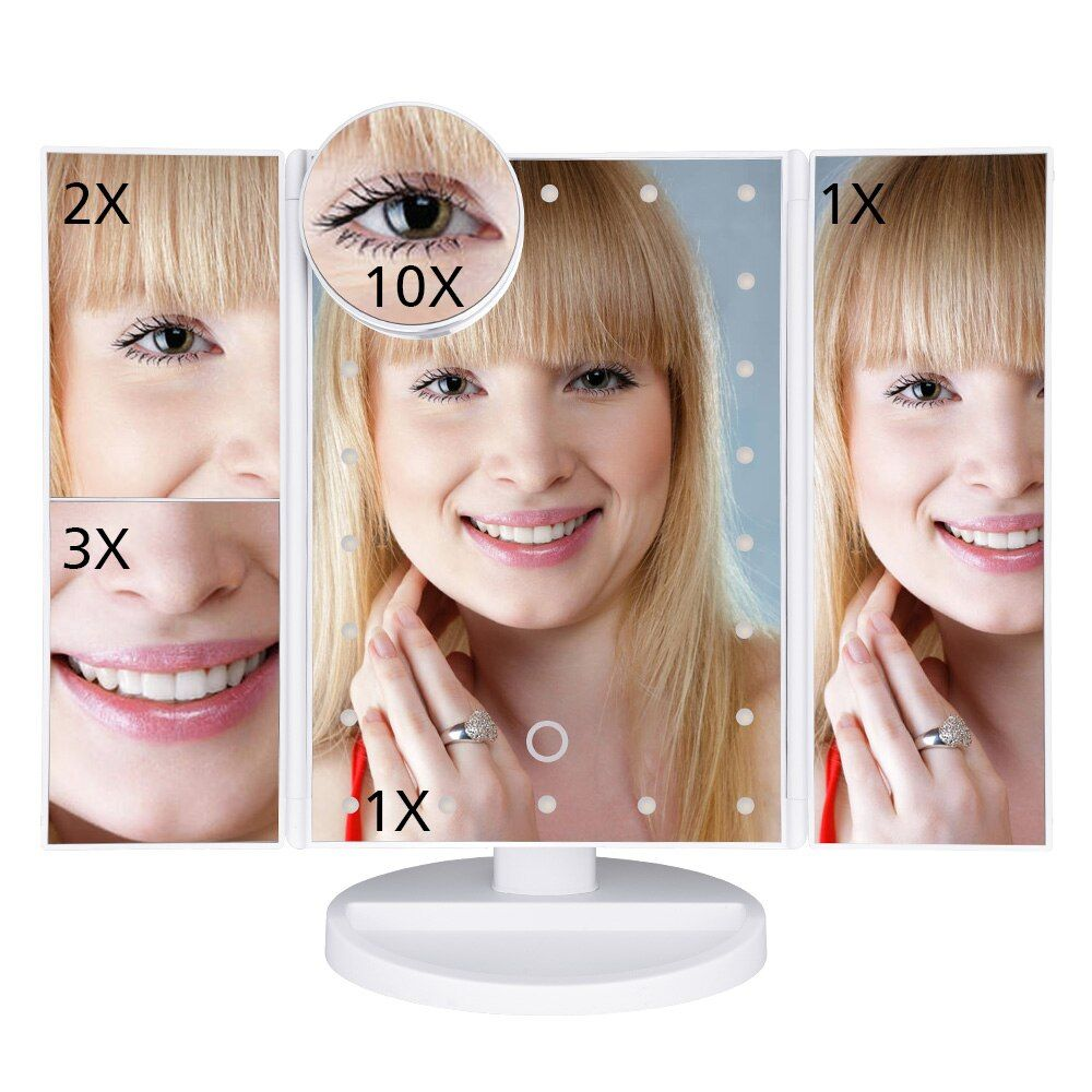Makeup Mirror LED Touch Screen 22 Light Table Desktop Makeup 1X/2X/3X/10X Magnifying Mirrors Vanity 3 Folding Adjustable Mirror