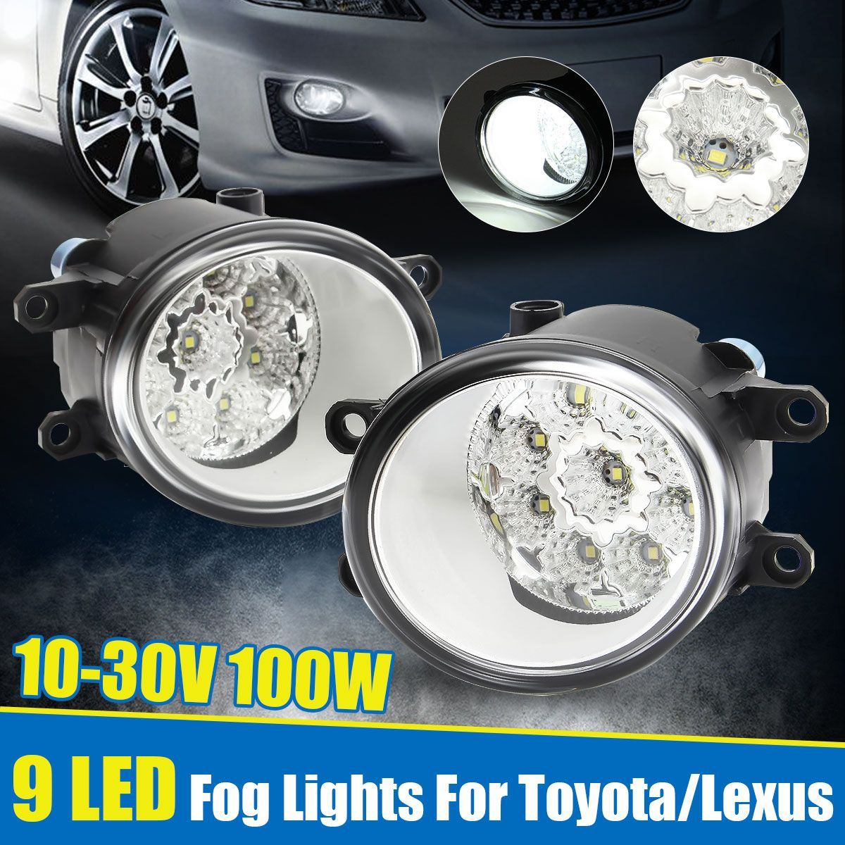2Pcs Round Front LED Car Fog Light Lamp for Toyota Camry Corolla 2009-2013 Yaris 2006-2013 RAV4 2006-2012 for Lexus RX350/RX450