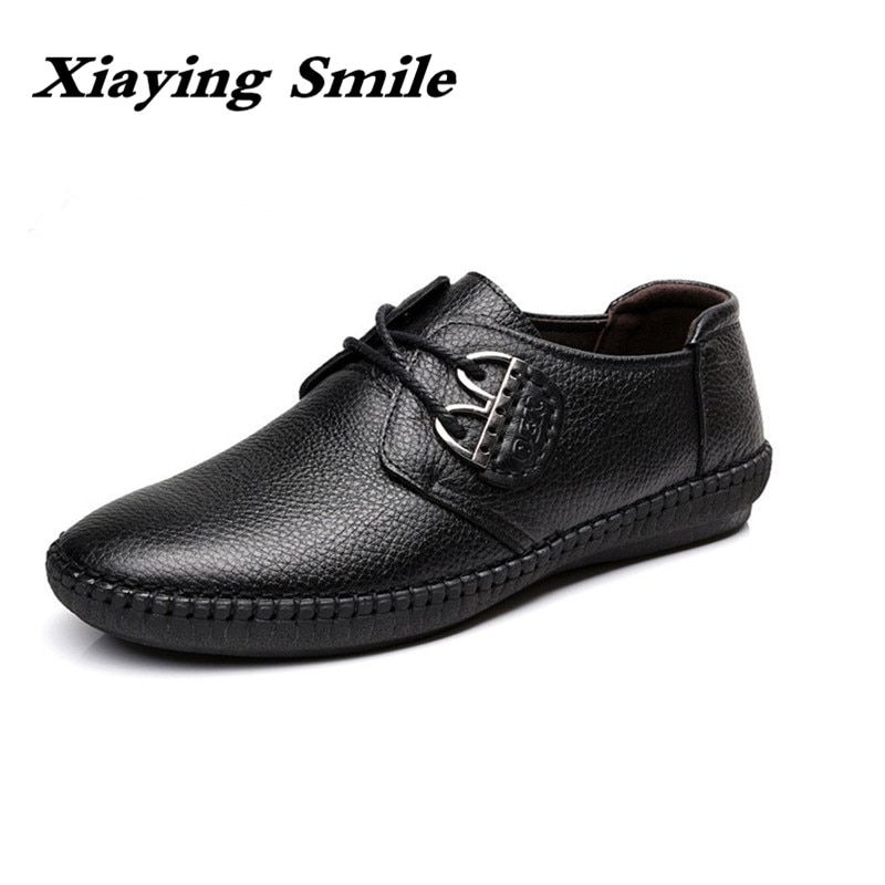 Men's Fashion cow Leather Shoes Working Shoes Lace Up Business Casual Genuine Leather Shoes Flats Male sneaker Zapatos De Hombre