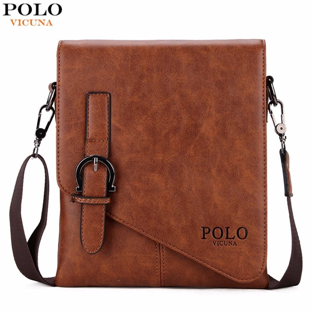 VICUNA POLO Unique Buckle Design Irregular Cover Open Mens Messenger Bag 2 Sizes <font><b>Business</b></font> Men Crossbody Bag Leather Man Bag Hot