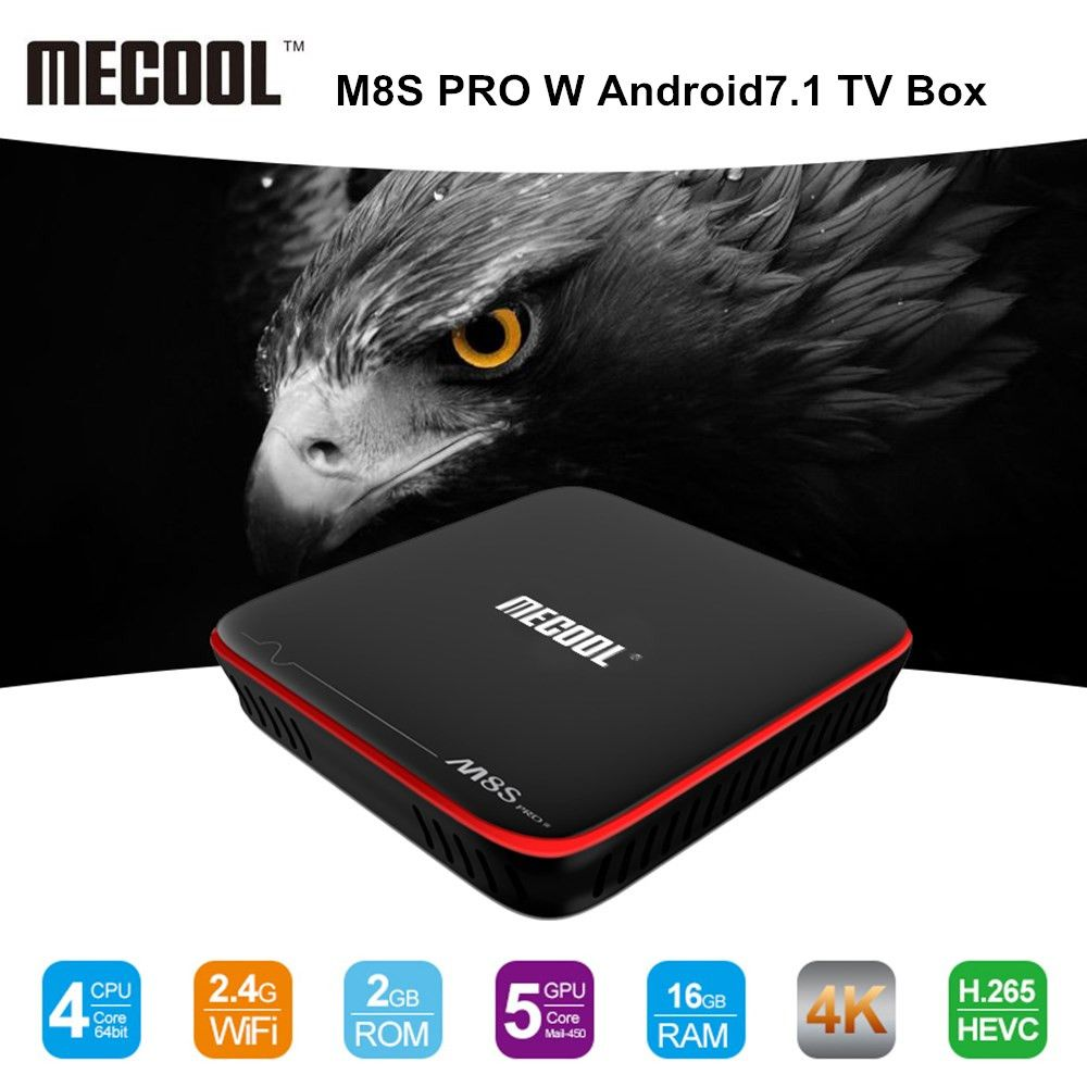 MECOOL M8S PRO W Android 7.1 TV Box Amlogic S905W CPU Quad Core 2GB RAM DDR3 16GB Smart TV Box 2.4GHz WiFi 4K H.265 Set Top Box