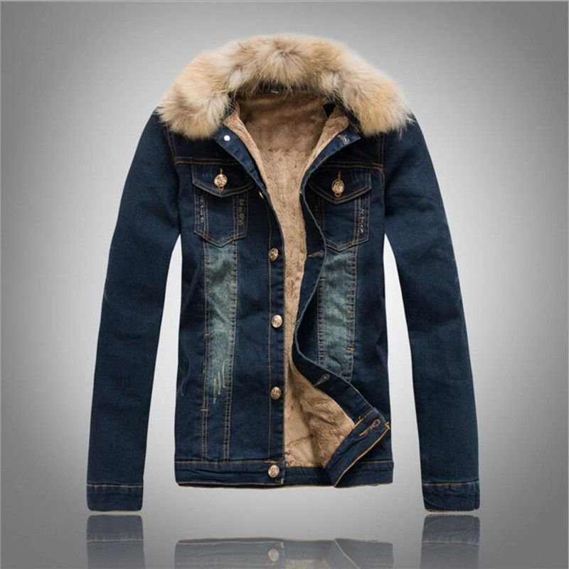 LEFT ROM Fashion male Winter added heat to keep warm Heavy hair collar Denim jacket/men slim Fit pure color Casual cowboy coat