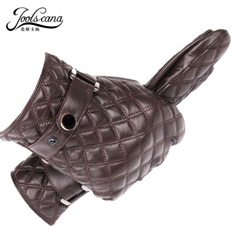 JOOLSCANA leder handschuhe für männer winter herbst mode handschuhe aus Italienischen natürliche schaffell touchscreen tartan handgelenk handschuh