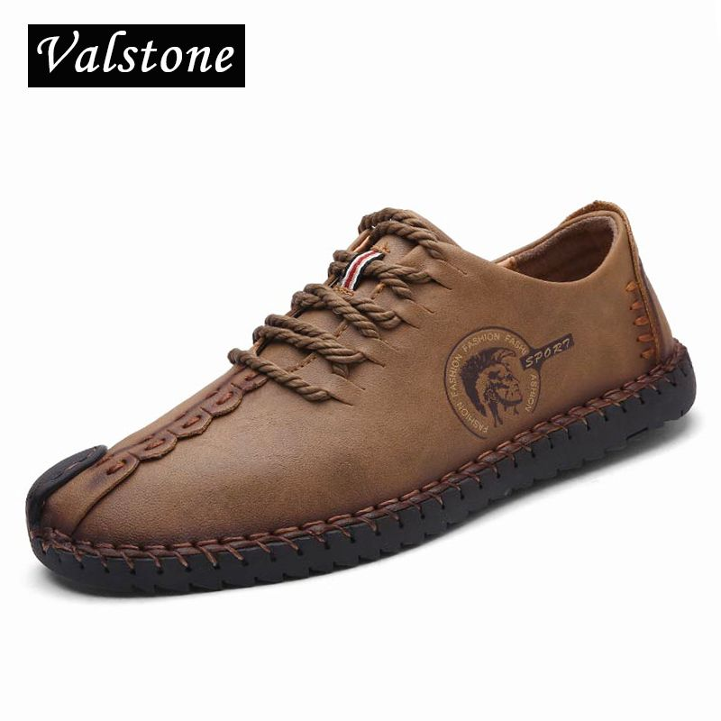 Valstone Top quality Leather Casual Shoes Men full handmade vintage shoes lace up Natural Rubber bottom zapato de cuero hombre