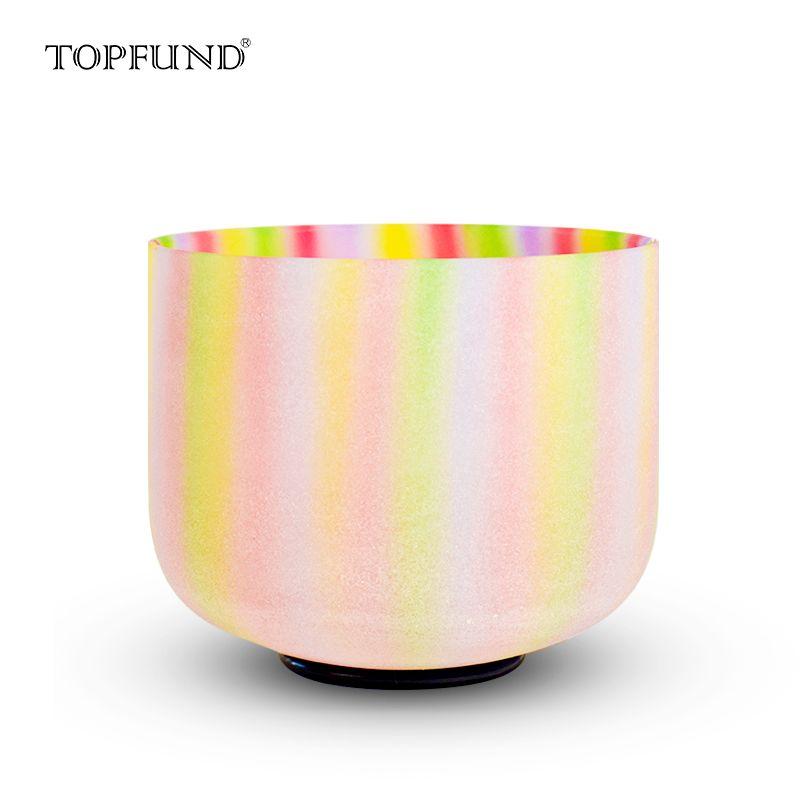 TOPFUND bol chantant en cristal de Quartz Chakra givré de couleur arc-en-ciel 8