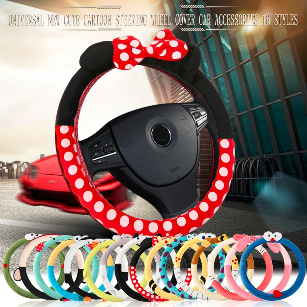 Fashion Car Steering Wheel Cover Cute Cartoon Universal Interior <font><b>Accessories</b></font> Set 16 Designs Car Covers Car-Styling Drop Shipping