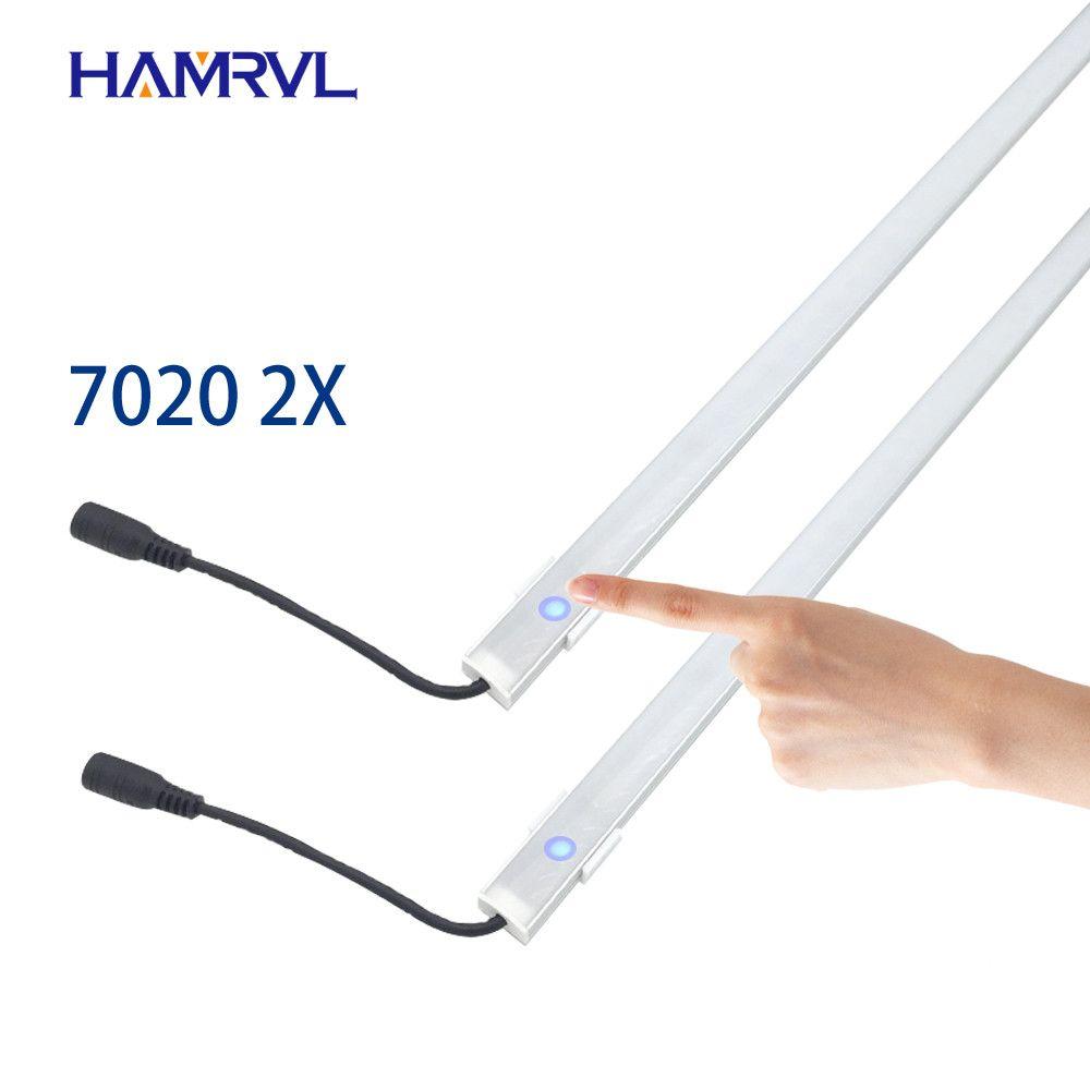 2 pièces dimmable sous armoire bande lighting7020 7030 9W 50cm tactile commutateur contrôle cuisine led b DC12V bande rigide