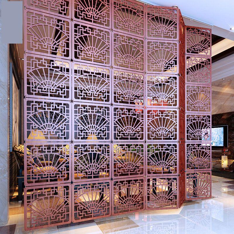 Pliable écran pour la chambre Décoratif partition Stores Bouclier pour chambres En Plastique suspendus Bois Rétro creux stores
