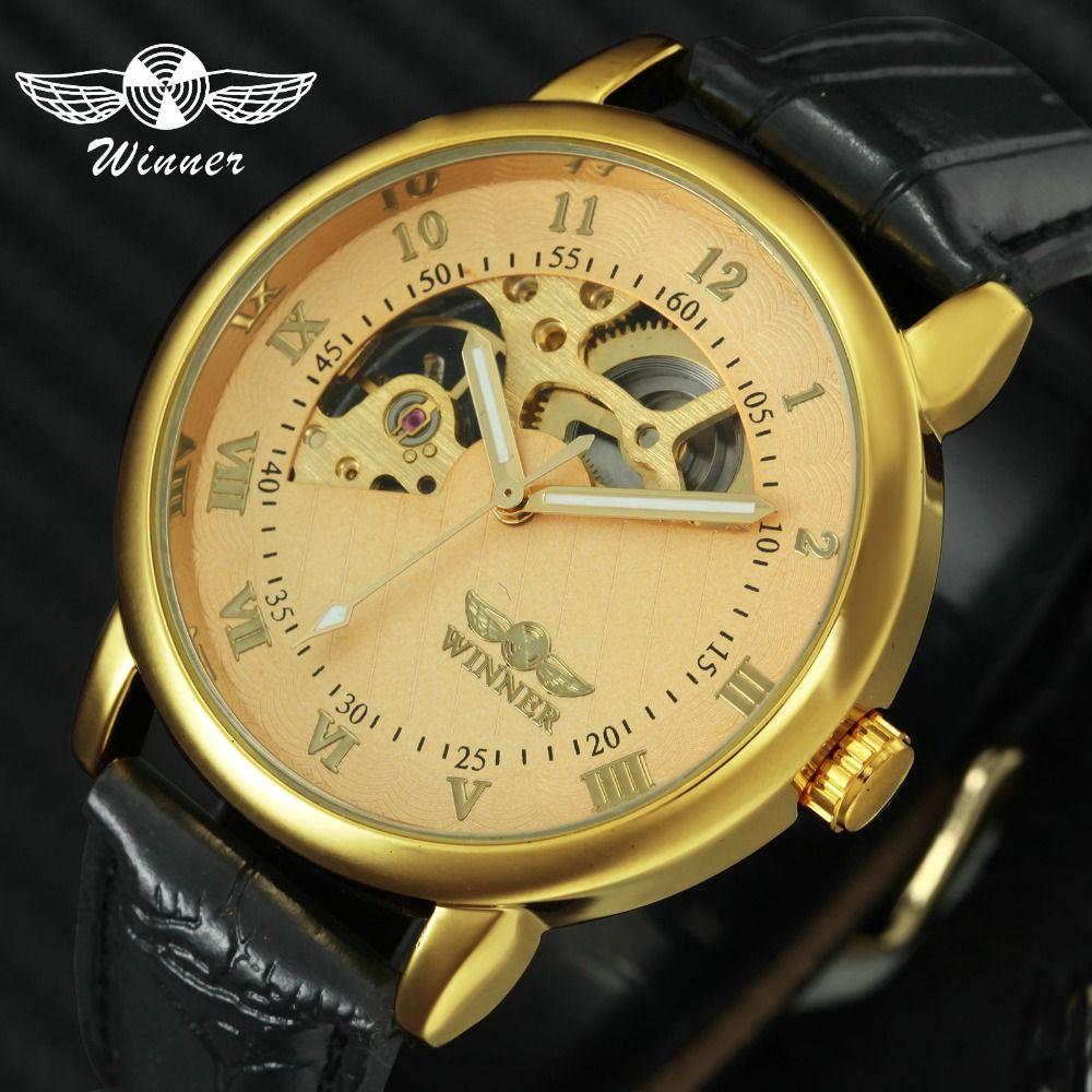 WINNER Top Brand Luxury Men Mechanical Watch Luminous Hands Round Skeleton Watch Leather Strap Male Wristwatch Unique Design