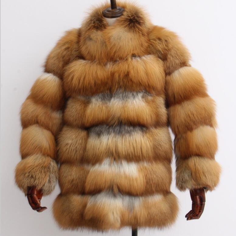 New arrival 2018 winter women's real red fox fur coat with warm fur collar female elegant outwear veste de fourrure