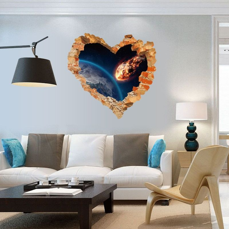 New 3D Love Broken Wall Hollow Stickers Modern Bedroom Living Room Entrance Decoration Background  Wholesale Wall Stickers