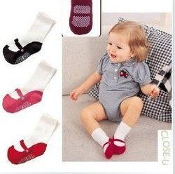 Busana Bayi perempuan Kaus Kaki Dot Anak Lucu Slip Sepatu Hangat Kaus Kaki Katun Anak 3 Warna