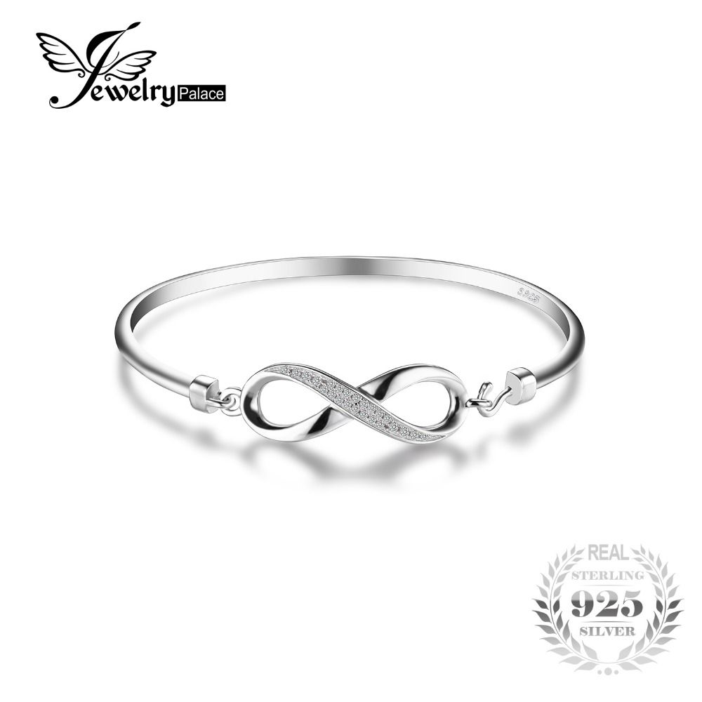 JewelryPalace Forever Love Infinity Cubic Zirconia Anniversary Bangle Bracelet Pure 925 Sterling Silver Jewelry Wedding Bracelet