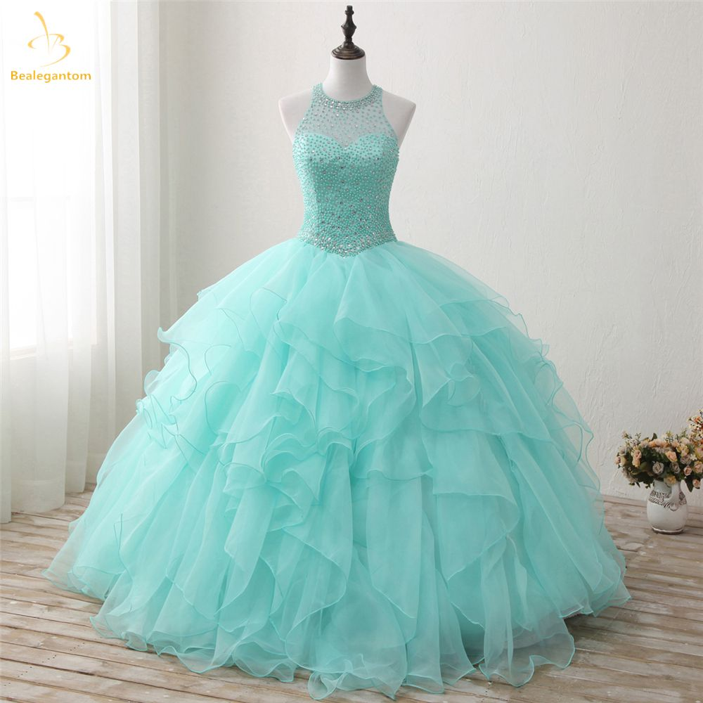 Bealegantom 2018 New Real Photo Mint Quinceanera Dresses Ball Gown Beaded Sweet 16 Dress For 15 Years Vestidos De 15 Anos QA1302