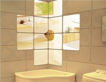 Livraison gratuite acrylique ronde angle ou droite angle carré miroir mural autocollant, 3D carré miroir stiker, 12 pcs par ensemble