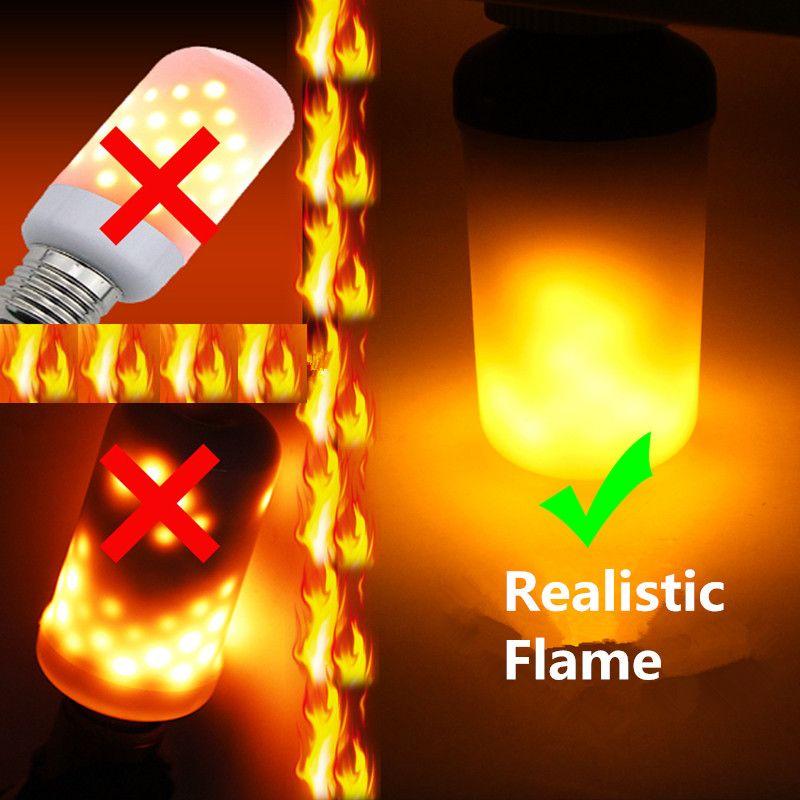 Creative 3 modes + Gravité Capteur Flamme Lumières E27 E26 E14 LED Flamme Effet Ampoule Feu 7 w 9 w Scintillement Émulation Décor Lampe