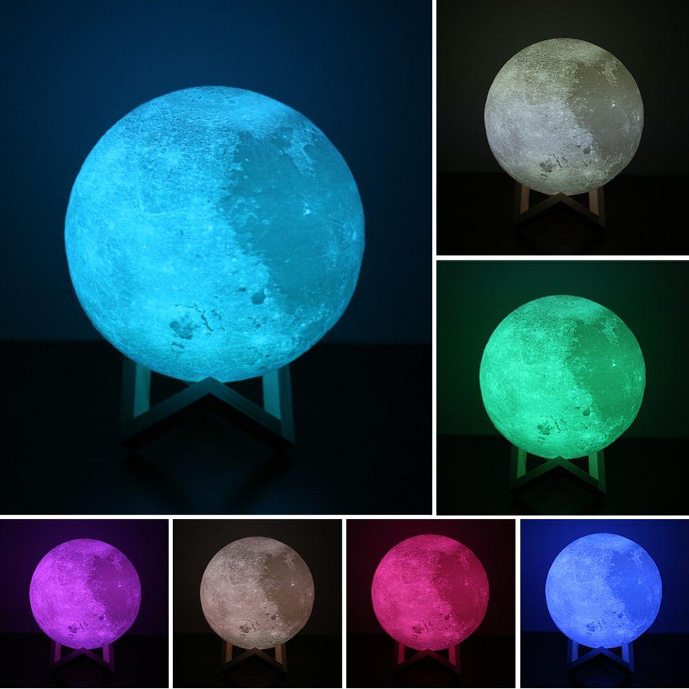 8-20 cm Dia 3D Impression Lune Lampe USB LED Night Light cadeau Tactile Capteur 2/3/7 Couleurs Changeantes Rechargeable Night Light Chambre décor