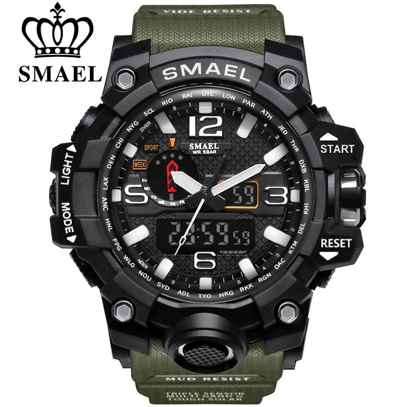 SMAEL Brand Men Sports Watches Dual Display <font><b>Analog</b></font> Digital LED Electronic Quartz Wristwatches Waterproof Swimming Military Watch