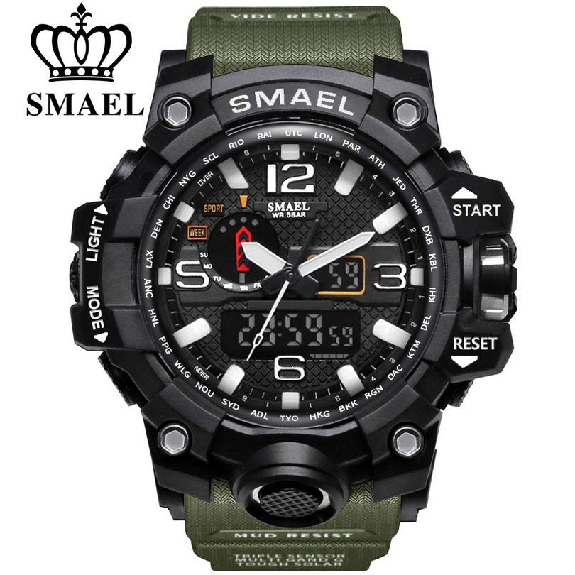 SMAEL marque hommes sport montres double affichage analogique numérique LED électronique montres à Quartz étanche natation montre militaire