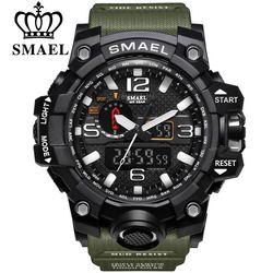 Smael Merek Jam Tangan Olahraga Pria Dual Tampilan Analog Digital LED Elektronik Jam Kuarsa Jam Tangan Tahan Air Renang Militer Watch