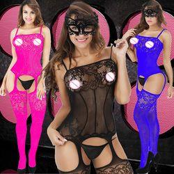 Женское кружевное эротическое сексуальное нижнее белье Babydoll корсет на подтяжках baques приталенный комбинезон латексные костюмы-чулки + Eyemask