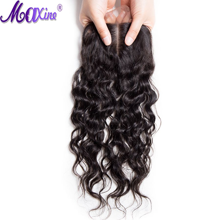 Mxine Water Wave Closure with Bay Hair Three Way Part Remy Human Hair 4X4 Lace Closure Bleached Knot Natural Color Free Ship