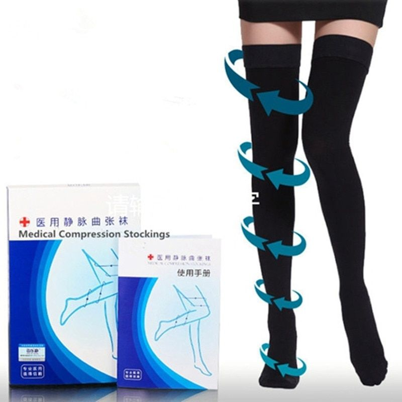Varicose veins Stovepipe Stockings Compression 20-30 mmHg Medical Stocking Therapeutic Firm Support <font><b>Thigh</b></font>-High