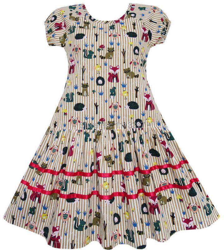 Girls Dress Fox Squirrel Bird Mushroom Striped Cotton 2018 Summer Princess Wedding Party Dresses Kids Clothes Size 7-14 Pageant