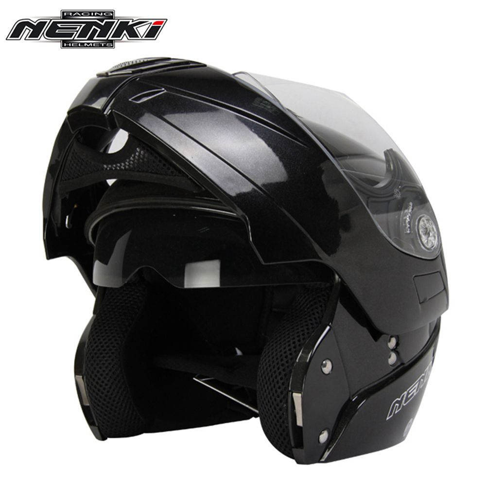 NENKI Motorrad Integralhelm Modulare Flip Up Street Bike Moto Motorrad RacingRiding Helm mit Dual Visier Sonnenschutz Objektiv