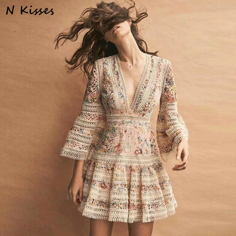 2018 Spring Elegant O-neck Lace Hollow Out Women Dress Print Embroidery Loose Lady Mini Dress