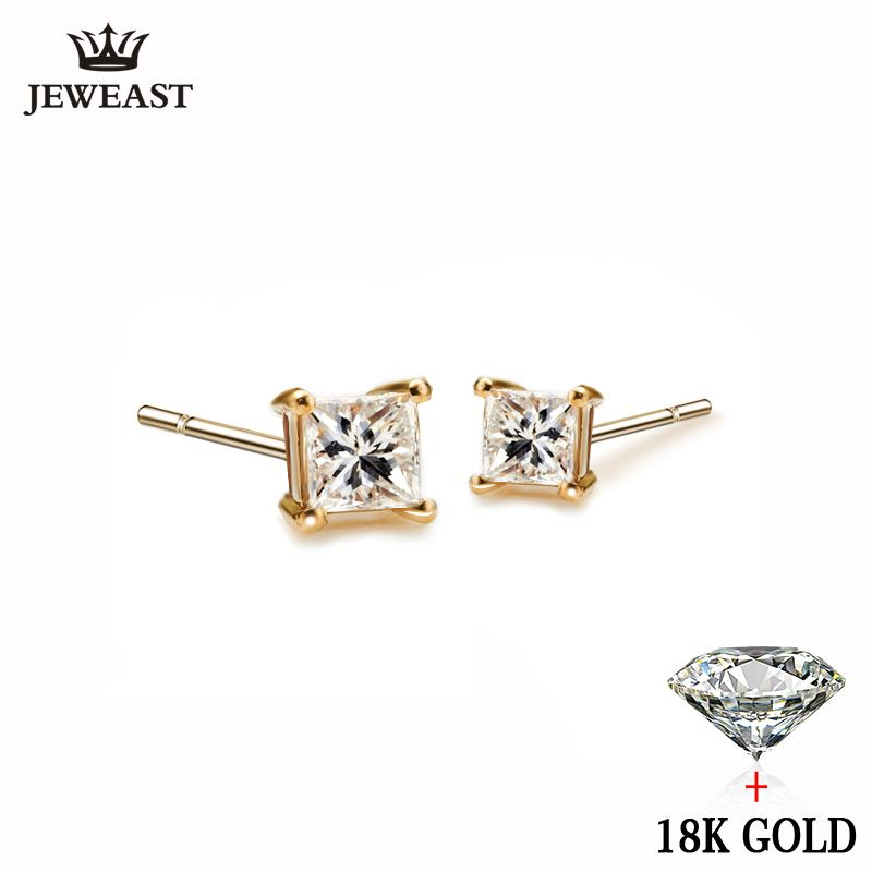 18 k Reinem Gold Weiß Gelb Natürliche Stud Ohrringe Klassische Elegante Einfache Edle Hochzeit Schmuck Geschenk Heißer Verkauf 2017 Neue