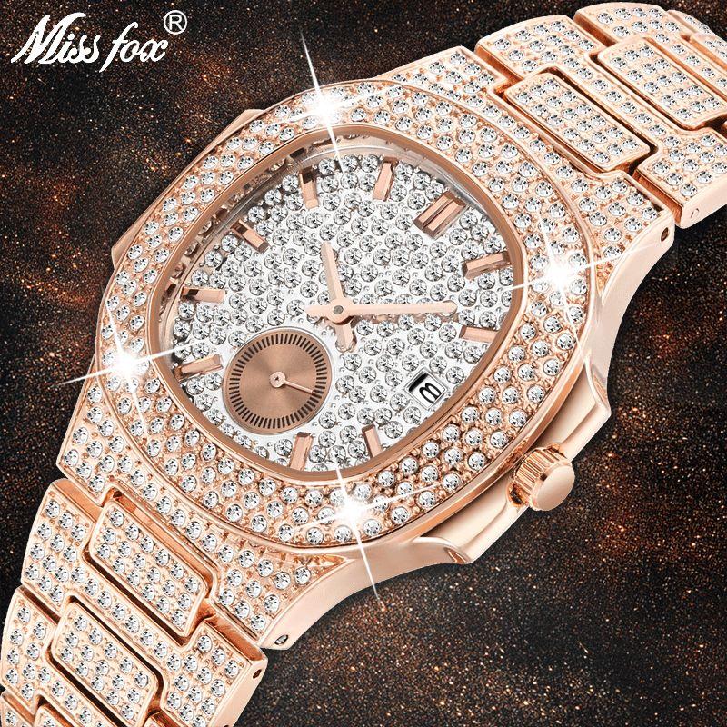 Einzigartige Uhr Männer Luxus Marke Patek Trending Mens Fashion Rose Gold Uhr Quarz Uhr Chronograph Diamant Stahl Iced Out Uhr