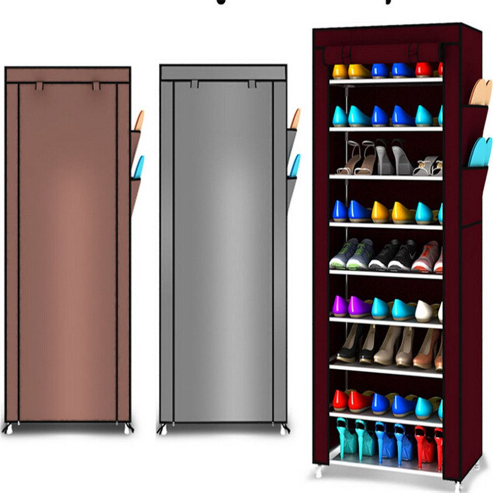 9 Tier Shoe Shelves Canvas Shoe Stool Storage Wardrobe Rack Rail Shoe Organizer Zipper Permanent Sapateira Organ 3colors cabinet