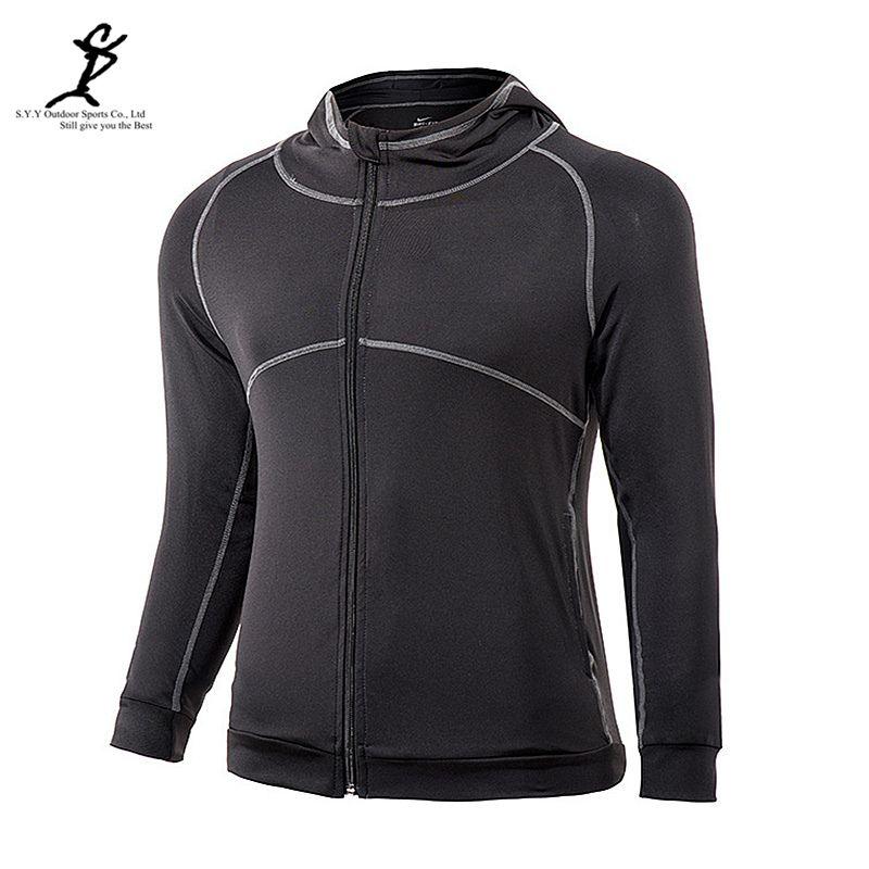 Männer Outdoor-Sport Jacke Langarm Lauf Kapuzenjacke Aktive Reißverschluss Gym Sweatshirt Männlich Ausbildung Sportswear Crossfit Jacke