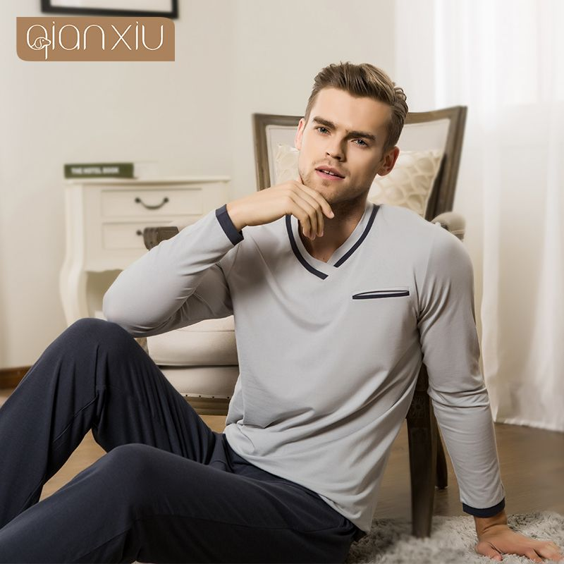Qianxiu пижамы Новая осень для мужчин