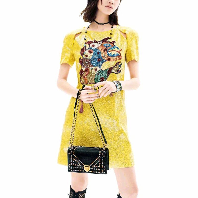 2018 Runway Luxury Shiny Yellow Shirt Dress Women Summer Sexy Monster Short Sleeve Female Party Mini Dress A Line Clothing