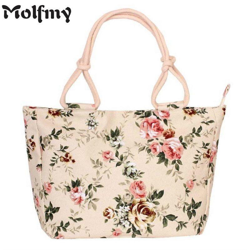 <font><b>2018</b></font> Fashion Folding Women Big Size Handbag Tote Ladies Casual Flower Printing Canvas Graffiti Shoulder Bag Beach Bolsa Feminina