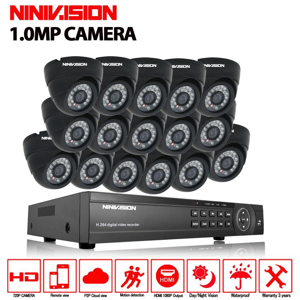 16ch CCTV System 720 p AHD Kamera 16 stücke Sicherheit Kamera System AHD DVR 1080 p HDMI CCTV DVR Recorder 1.0MP CCTV Kamera system kit